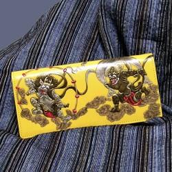 風神雷神 和柄財布 長財布(黄)